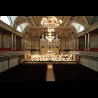 Zürich, Tonhalle, Blick von der hinteren Empore zur Orgel