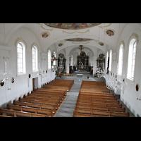 Horw (bei Luzern), St. Katharina, Blick von der Empore in die Kirche