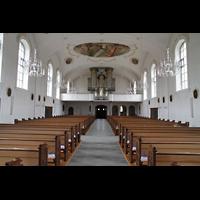 Horw (bei Luzern), St. Katharina, Innenraum in Richtung Orgel