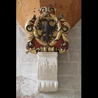 Sion (Sitten), Notre-Dame-de-Valère (Burgkirche), Detail und Wappen unterhalb der Orgelempore