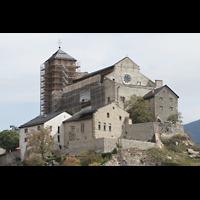 Sion (Sitten), Notre-Dame-de-Valère (Burgkirche), Notre-Dame de Valère, vom Turm der Kathedrale aus gesehen