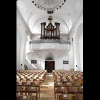 Sion (Sitten), Jesuitenkirche (Konzertsaal), Innenraum in Richtung Orgel