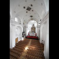 Sion (Sitten), Jesuitenkirche (Konzertsaal), Blick von der Empore in Richtung Chor