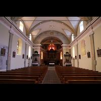 Conthey, Saint-Séverin, Innenraum in Richtung Chor