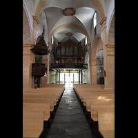 Martigny, Notre-Dame de la Visitation, Innenraum in Richtung Orgel