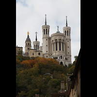 Lyon, Notre-Dame de Fourvière, Die Basilika von der Saône aus gesehen