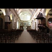 Bordeaux, Notre-Dame (Hauptorgel), Innenraum / Hauptschiff in Richtung Chor