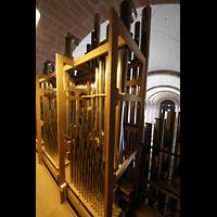 Speyer, Kaiser- und Mariendom, Labialregister des Solowerks inkl. der tiefen Chamaden (hooded) auf dem Dach der Orgel