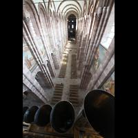 Speyer, Kaiser- und Mariendom, Blick über die Prospektpeifen des Majorbass 16' in den Dom