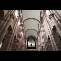 Speyer, Kaiser- und Mariendom, Hauptorgel und Deckengewölbe im Hauptschiff