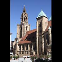 Heilbronn, Kilianskirche - Chororgel, Osttürme und Westturm vom Kiliansplatz aus gesehen
