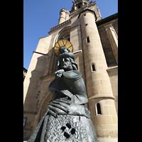 Heilbronn, Kilianskirche - Chororgel, Christophorus-Skulptur vor dem Südportal
