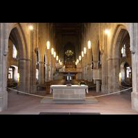 Heilbronn, Kilianskirche - Chororgel, Hauptschiff in Richtung Orgel