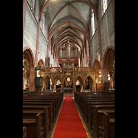 Strasbourg (Straßburg), Saint-Pierre-le-Jeune Protestant, Hauptschiff in Richtung Chor mit Lettner und Orgel