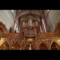Strasbourg (Straßburg), Saint-Pierre-le-Jeune Protestant, Gotischer Lettner mit Darsteollung der vier Evangelisten, darüber die Orgel