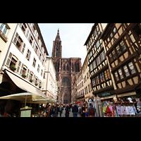 Strasbourg (Straßburg), Cathédrale Notre-Dame - Münster (Kapellenorgel), Fassade von der Rue Mercière aus gesehen