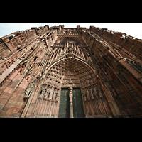 Strasbourg (Straßburg), Cathédrale Notre-Dame - Münster (Kapellenorgel), Hauptportal und Fassade perspektivisch