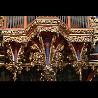 Strasbourg (Straßburg), Cathédrale Notre-Dame - Münster (Kapellenorgel), Schnitzwerk und Ornamenik am Rückpositiv