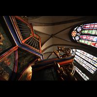 Strasbourg (Straßburg), Cathédrale Notre-Dame - Münster (Kapellenorgel), Blick vom Spieltisch nach oben