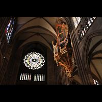 Strasbourg (Straßburg), Cathédrale Notre-Dame - Münster (Kapellenorgel), Silbermann-Orgel und große Rosette an der Westwand