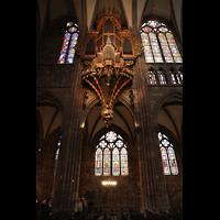 Strasbourg (Straßburg), Cathédrale Notre-Dame - Münster (Kapellenorgel), Silbermann-Orgel mit bunten Glasfenstern an der nördlichen Hauptschiffwand
