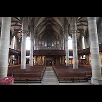 Schwäbisch Hall, Stadtpfarrkirche St. Michael (Hauptorgel), Innenraum / Hauptschiff in Richtung Orgel