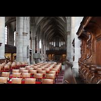 Schwäbisch Hall, Stadtpfarrkirche St. Michael (Hauptorgel), Blick vom Chor mit Chorgestühl zur Orgel