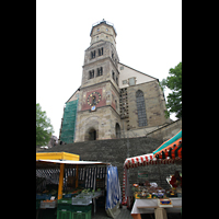 Schwäbisch Hall, Stadtpfarrkirche St. Michael (Hauptorgel), Blick vom Marktplatz auf den Turm