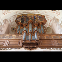 Ebersmunster (Ebersmünster), Église Abbatiale (Abteikirche), Orgel mit Deckengemälden