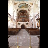 Ebersmunster (Ebersmünster), Église Abbatiale (Abteikirche), Innenraum in Richtung Orgel