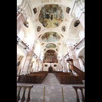 Ebersmunster (Ebersmünster), Église Abbatiale (Abteikirche), Gesamtansicht Innenraum in Richtung Orgel