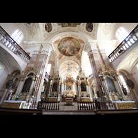 Ebersmunster (Ebersmünster), Église Abbatiale (Abteikirche), Innenraum in Richtung Chor