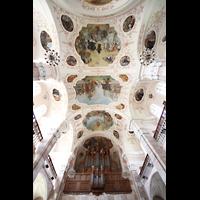 Ebersmunster (Ebersmünster), Église Abbatiale (Abteikirche), Orgel und Deckengemälde