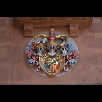 Freudenstadt, Evangelische Stadtkirche (Chororgel), Wappen rechts über dem Hauptportal
