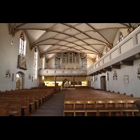 Freudenstadt, Evangelische Stadtkirche (Chororgel), Blick ins nördliche Schiff in Richtung Orgel