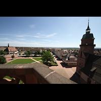 Freudenstadt, Evangelische Stadtkirche (Chororgel), Blick vom Nordturm auf den gesamten Marktplatz