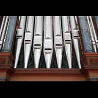 Schramberg (Schwarzwald), St. Maria, Pedalpfeifenturm - mit Zinnfolie belegte Holzpfeifen des Prinzipalbass 16'
