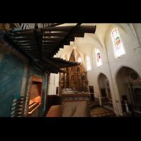 Muro (Mallorca), Sant Joan Baptiste, Chamaden und Spieltisch mit Blick zum Chor