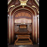 Hamburg, St. Michaelis, ''Michel'' (Krypta-Orgel), Spieltisch der Hauptorgel