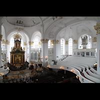 Hamburg, St. Michaelis, ''Michel'' (Krypta-Orgel), Carl-Philipp-Emanual-Orgel und Chorraum
