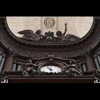 Paris, Saint-Sulpice (Chororgel), Uhr und Figurenschmuck