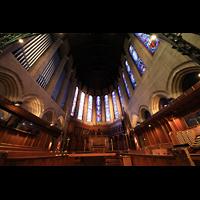 Denver (CO), St. John's Episcopal Cathedral (Main Organ), Chorraum mit Spieltisch und Orgel