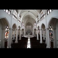 Denver (CO), Cathedral Basilica of the ImmaculateConception, Blick von der Orgelempore ins Hauptschiff