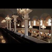New York (NY), St. Paul's Chapel (Trinity Parish), Blick von der Seitenempore zur Orgel