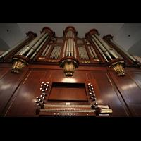 New York (NY), St. Paul's Chapel (Trinity Parish), Spieltisch mit Orgel