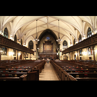 New York (NY), First Presbyterian Church - Chapel Organ, Innenraum in Richtung Orgel