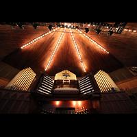 Ocean Grove (NJ), Great Auditorium, Spieltisch mit Orgel perspektivisch