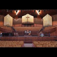 Ocean Grove (NJ), Great Auditorium, Blick von der Gallrey Organ zur Hauptorgel mit Spieltisch