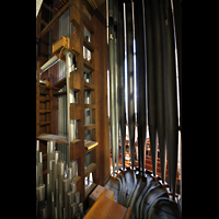 Chicago (IL), University, Rockefeller Memorial Chapel, Prospektpfeifen des Diapason 16' im Great