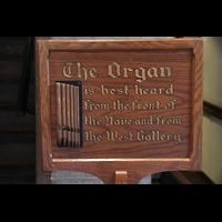 Chicago (IL), University, Rockefeller Memorial Chapel, Hinweisschild für Orgelkonzertbesucher